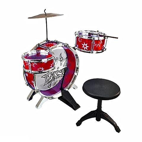 New Junior Drum Kit Cymbals Throne Children Kids Blue and