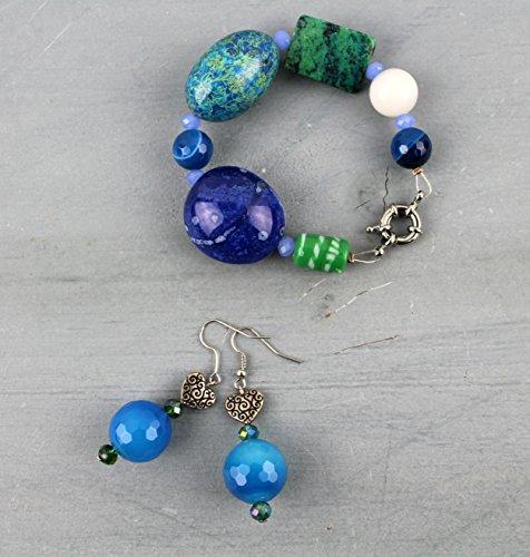 PARURE, Boucles d'oreille pendante ethniques et bracelet - pierre semi-précieuse et verre artistique de Venise