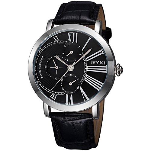 XKC-watches Herren- und Damenuhren, EYKI 3796 Multifunktionale DREI echte Zifferblatt Quarzuhr Armbanduhr Armbanduhr Unisex Uhr mit PU Band (Artikelnummer : S-WA-8900BS)
