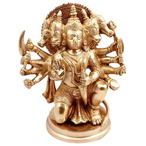 Purpledip Latón Idol Hanuman/Bajrangbali en Panchmukhi Avatar: Estatua  única para el Templo del hogar, Mesa de Oficina o Tienda Puja Estante    Hindu