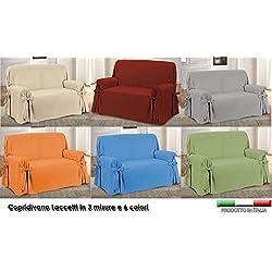Centesimo Web Shop COPRIDIVANO Laccetti in 3 Misure E 6 Colori Tessuto Jacquard Panama Tinta Unita Copri Divano - - Tre posti Grigio