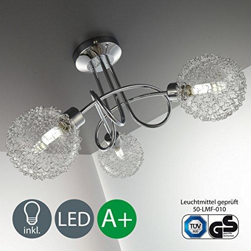 Lampada da soffitto a LED G9, per salone e soggiorno, 3luci, cromata