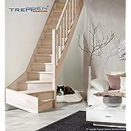 Intercon wooden staircase Casablancabeech ¼ spiralled right or left, incl. wooden column balustrader