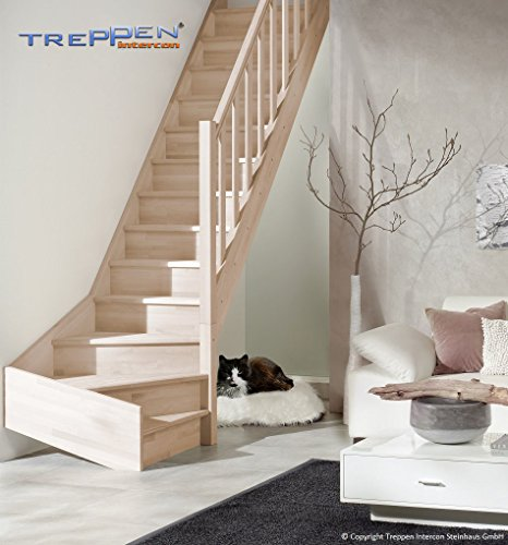 Intercon wooden staircase Casablancabeech ¼ spiralled right or left, incl. wooden column balustrade