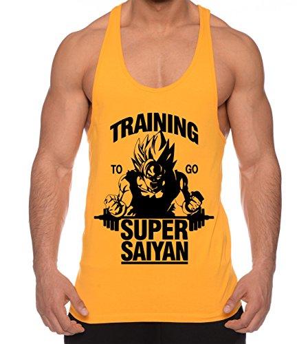 Goku Super Saiyan de los Hombres Camisa del músculo One Goku Dragon Master Son Ball Vegeta Turtle Roshi Piece Gym, Farbe2:Gelb;Größe2:S