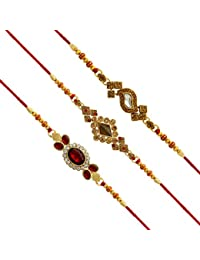 Jaipur Mart Set of 3 Kundan Rakhi Gift for Brother Latest Rakhi Gift (RKH20$P)