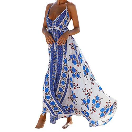 Vovotrade Frauen Sommer Casual Baumwolle Halter Backless Sexy V-Ausschnitt Boho Beach Party Blumen gedruckt Maxi Kleid Blau