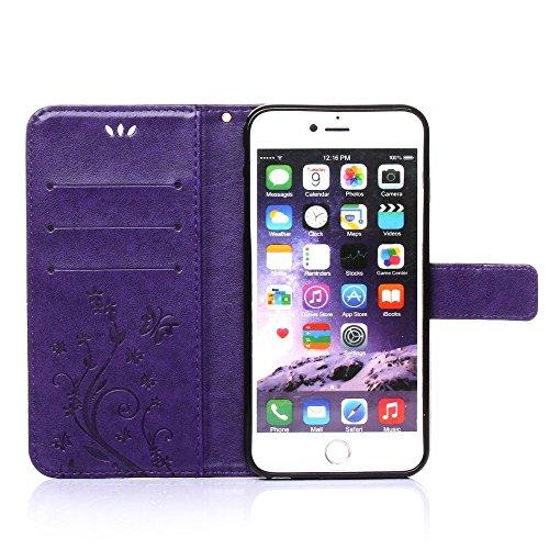 UKDANDANWEI Apple iPhone 7 Hülle ,Muster Flip Wallet Case,Lanyard Strap Leather Stand Handyhülle Portable Lederhülle Anti-Scratch [ID Card Slot] Magnetverschluss Soft Silikon Cover TascheFolio Handyta Violett