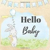 Hello Baby: für die erste Party deines Babys   mit 40 farbigen Seiten Platz    niedlicher Haase mit Ballon