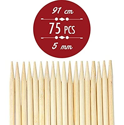 91cm 36 inch 5mm Extra Long Kebab and Marshmallow Bamboo Roasting Sticks, Skewers, Thick Extra Long Heavy Duty Wooden Skewers, 75 Skewers. Perfect for Hot Dogs, Kebabs ,Sausage from NJ