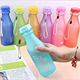 Doyime 1pc 550 ml Not Easy Breaking Frosted Bottle With Cover Leak Proof Creative Portable Water Cup Plastic Bottle Glass,blue