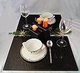 Edles Tischset - Platzset - 2 Servierplatten + 1 Kerzenständer aus Star Galaxy Granit