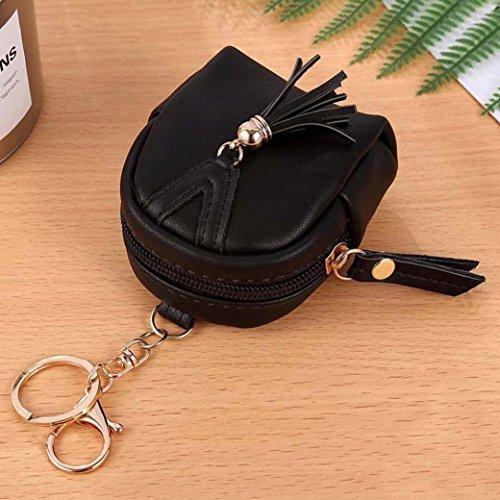 Portafoglio Donna, Tpulling le donne semplice chiave borsa, portafoglio tassel portamonete titolari borsa (Pink) Black