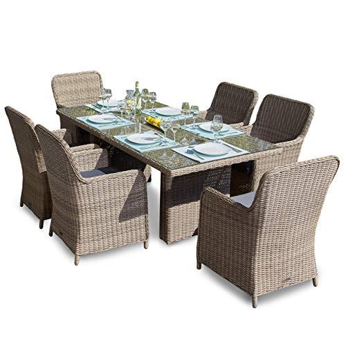Gartenmöbel (Green Spirit Hochwertige Tischgruppe 13-TLG. in Braun Polyrattan Garten Möbel Poly Rattan Speisegruppe Tischgruppe Hellbraun Gartenmöbel XL-Stühle Sicherheitsglas)