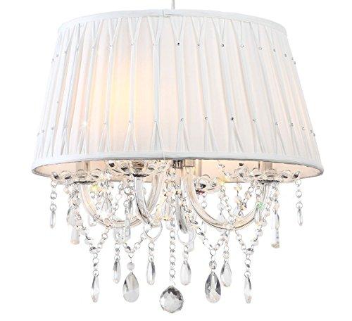 Kristall Esszimmertisch Deckenlampe Kronleuchter modisch Schneeweiß Glas Lampenschirm diamantiert 4 Arm Lewima Aretta