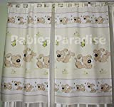 Babies Paradise Kinderzimmer Vorhänge mit Schlaufen 150 x 100 cm (Hund Beige)