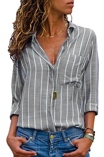 Dokotoo Bluse Damen Langarm hemdbluse Hemd Herbst und Sommer Revers Kragen Grau XL(EU48-50)