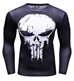 Cody Lundin uomo Marvel Comics Movie Theme Hero ant-man, Frank Castle stampa digitale fitness e maglia a compressione a maniche lunghe, sportiva, uomo Black-White Large