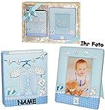 Unbekannt Set: 3-D Effekt _ Fotoalbum / Einsteckalbum + Bilderrahmen -  Baby erste Fotos  - incl. Name - Jungen - blau - Gebunden - für 100 Bilder - 10 cm * 15 cm - F..