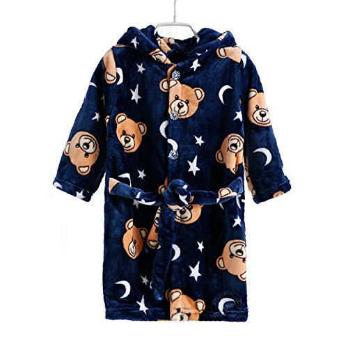 Motherly Baby Bathrobe Bath Towel and Gown for Kids (Star Bear, Height 95 cm- for 2-4 Years Old)
