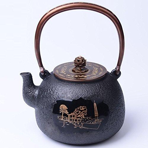 Nouveau Pot Pot Incrusté Théière Art Collection Cadeau Bouilli Fonte Pot Fonte Capacité 1.2L