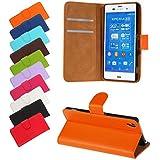 BRALEXX Bookstyle Étui pour smartphone Sony Xperia Z1 Compact Z2 HTC One M8 HTC One Mini 2ème génération LG G3 Samsung Galaxy S3 mini S5 Sony Xperia Z3 orange