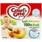 Vache & Portail Pomme Et La Banane À 100% De Fruits Avec De La Vitamine C À Partir De 4-36 Mois 4 X 100G