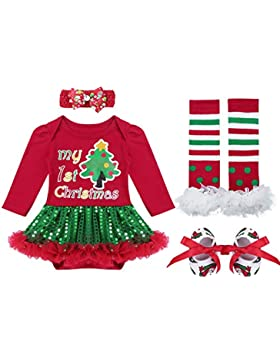 Tiaobug Baby Mädchen Bekleidung Set Langarm Weihnachten Strampler Stirndband Schuhe Beinwärme Weihnachtskostüm