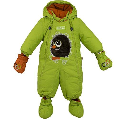 """natubini Designer Schneeanzug """"Yeti"""", freshgreen/tangerine - SnowKids Overall mit Klett-Booties und -Fäustlingen, wasserdicht bis 2000 mm Größe 86"""
