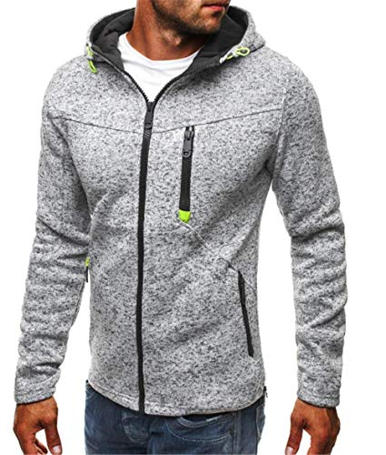 FGHFHFH Kapuzenpullover Men's Casual Jacquard Sweater Cashmere Cardigan and Cap Jacket Light Grey XXXL - Jacquard Zip Jacket