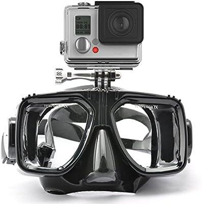 HLC - Gafas de buceo (compatibles con cámara GoPro Hero 1, 2, 3, 3+, 4),color negra
