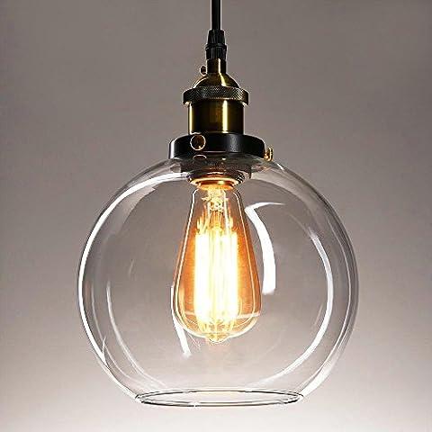 Frideko Vintage Industrial Ball Glass Lampshade Ceiling Pendant Light for