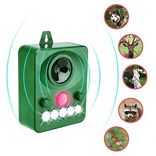 Surenhap Repelente solar ultrasónico solar para animales, ultrasónico y parpadeo Luz LED Repelente impermeable al aire libre para perros, gatos, zorros, ratones, pájaros, mofetas