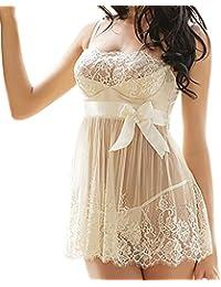 Lenceria encaje+tanga,Morwind ropa interior mujer sexy muy transparente lenceria sexy mujer erotica conjunto picardias mini vestido con bonita espalda escotado delante