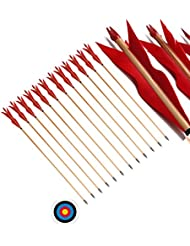 FlyArchery 32'' Traditional Handmade Wooden Arrows 5'' Sprite shape Fletched Feathers Hunting Arrows for Target Practice (Pack of 12)