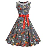 KPILP Frauen Rockabilly Kleid Vintage Sleeveless O Neck Petticoat Abend Druck Partei Faltenrock Prom Swing Dress(Schwarz1,EU-46/CN-2XL
