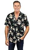 Tom Selleck Original Hawaiihemd, Kurzarm, Star Orchid, Schwarz, XS