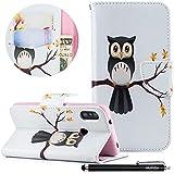 Xiaomi Redmi 6 Pro Handyhülle, HUDDU Hülle Xiaomi Redmi 6 Pro Schutzhülle Weiß Tasche PU Leder Wallet Case Ständer Funktion Kartenfach Magnetisch Extra Dünn Brieftasche Flip Cover - Eule auf dem Baum