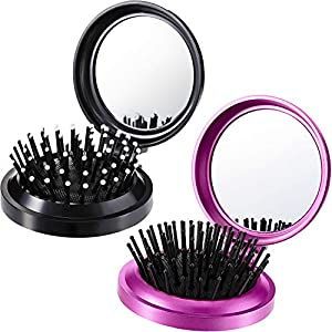 2 Pieces Folding Travel Mirror Hair Brushes Round Folding Pocket Hair Brush Mini Hair Comb Compact Travel Size Hair Massage Comb for Women and Girls (Black, Purple)