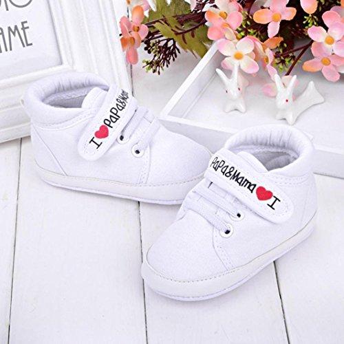 """Niedlich Baby Sneaker """"I Love Mama Und Papa""""Säuglings Weiche Sohle Leinwand Segeltuch Turnschuh Kleinkind Schuhe Kind Junge Weiß"""