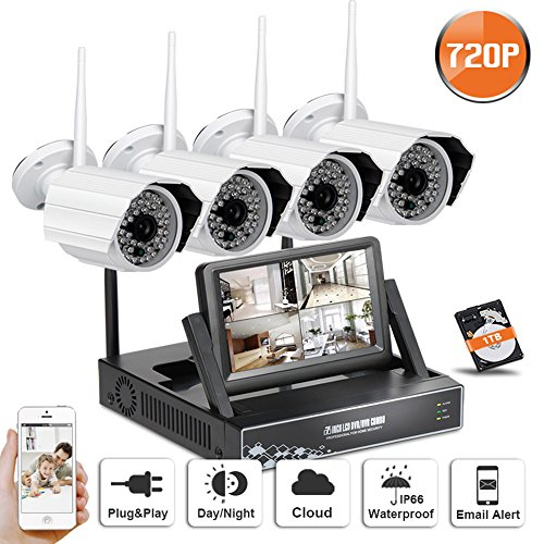 SW 720P WIFI NVR Security Camera System with 4 Wireless Outdoor 720P HD IP CCTV Camera with 48 LEDs Night vision Support Smartphone Remote view WIFI NVR with 7