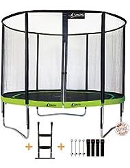 Kangui - Trampoline de jardin rond 305 cm + filet de sécurité + échelle + kit d'ancrage PUNCHI ALOE 300