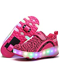 SGoodshoes Niñas Zapatos con Ruedas Led Niños Deortivos Para Skate 7 Color USB Carga LED Zapatillas con Ruedas Mujer Hombre