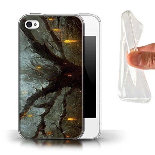 Offiziell Chris Cold Hülle / Gel TPU Case für Apple iPhone 4/4S / Schiffswrack Muster / Gefallene Erde Kollektion Baum des Wissens