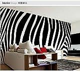 YOOMAY Papier Peint Mural Noir personnalisé de Mode Blanc zèbre Papier Peint Mural Grande Toile de Fond de Salon Chambre @ 300x210_cm_ (118.1_by_82.7_in) _