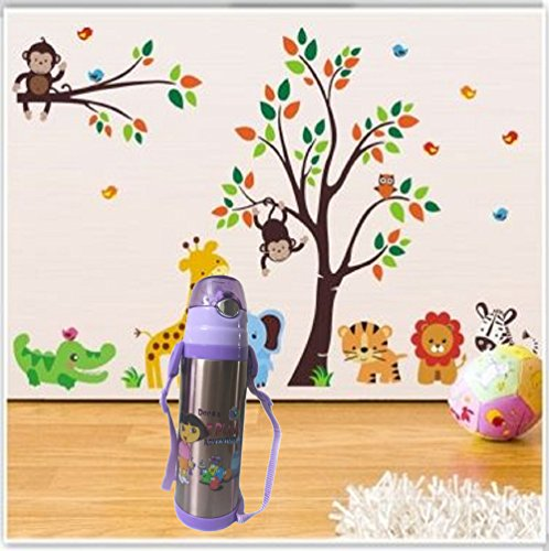 Cute Cartoon Kids Vacuum Thermo Stainless steel bottle flasks Thermal Insulation Capacity: 500ml (PURPLE)