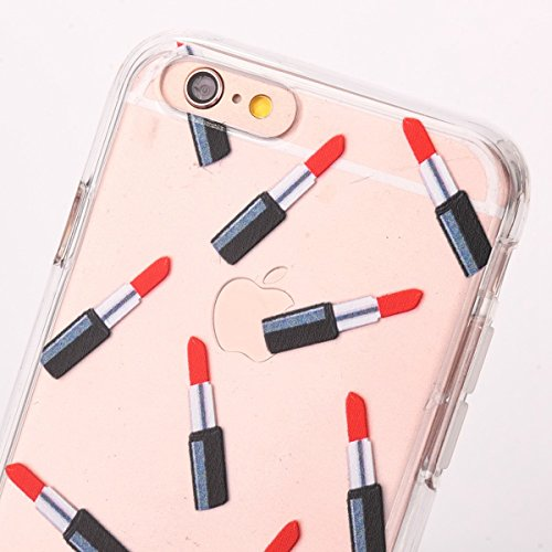 iPhone 6 Plus Hülle,iPhone 6S Plus Case,iPhone 6S Plus Silikon Cover - Felfy Ultra Dünne Slim Full Body Transparent Soft Gel TPU Silikon Rahmen mit Plastic Back Case Schöne Bunte Muster Design Case Rü Lippenstift