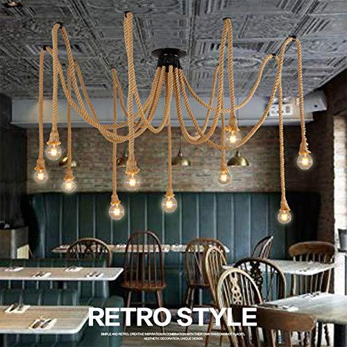 Retro DIY Hängeleuchte Industrielle Pendelleuchten Deckenleuchte Kronleuchter Hanfseil Pendelleuchten Küchenleuchte Esstisch