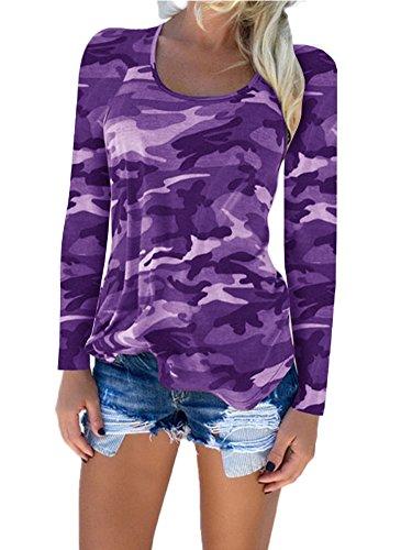 Pattrily Frauen Sexy Bluse Shirts Aushöhlen Tops Dünn Langarm Camouflage Übergroßen Damen Tief V Plus Größe Krawatte Farbe S-XXL Violett1
