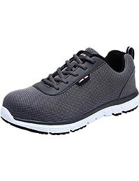 Zapatos de Seguridad Hombres, LM-30 Zapatillas de Trabajo con Punta de Acero Ultra Liviano Reflectivo Transpirable (44.5 EU, Gris Claro)